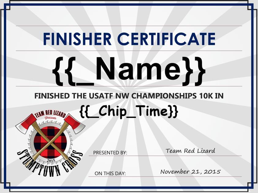 Finisher Certificate