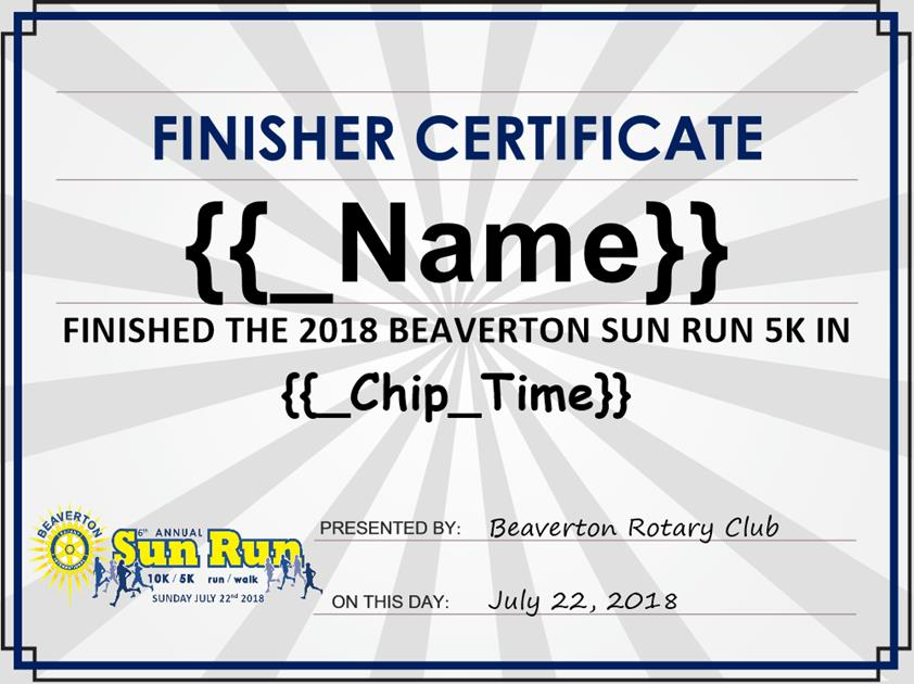 Finisher Certificate