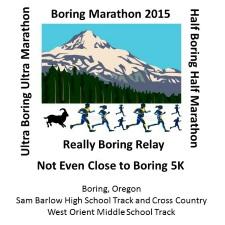 2015 Boring Marathon, Half Boring Marathon, Ultra Boring 50K, Marathon Relay, 5K Logo