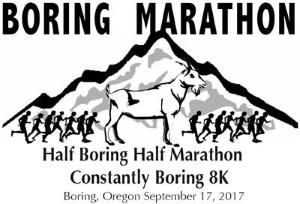 2017 Boring Marathon, Half Boring Half Marathon, Constantly Boring 8K Logo