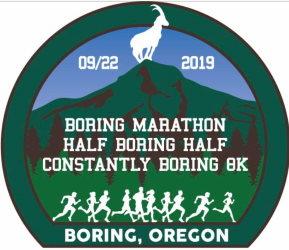 2019 Boring Marathon, Half Boring Half Marathon, Constantly Boring 8K Logo